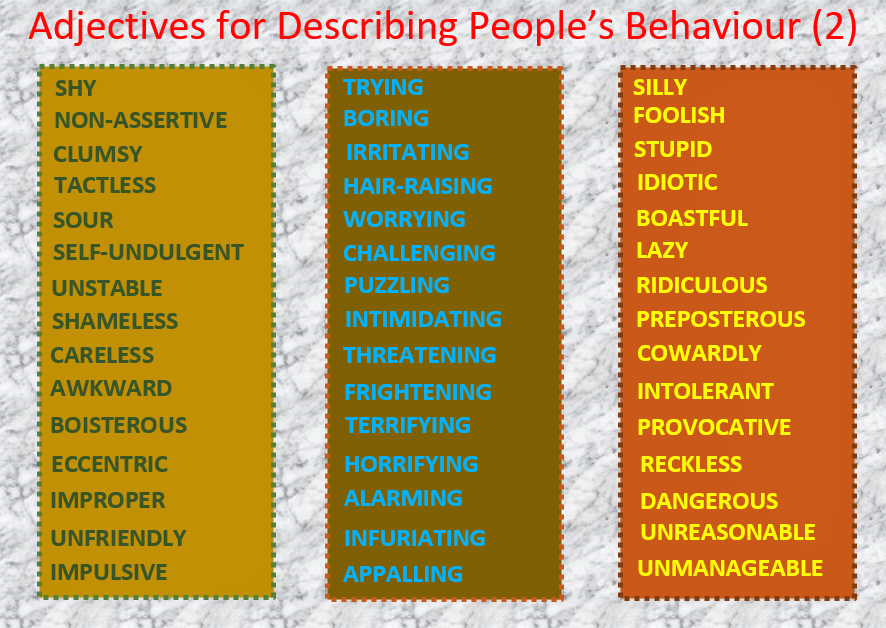 Adjectives for Describing Behaviour (2), Learn English With Africa, September 2017-English Worksheets
