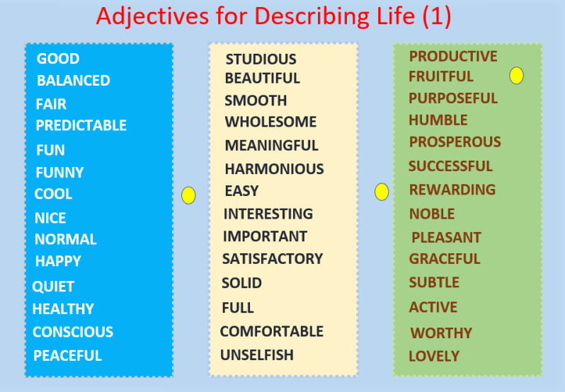 Vocabulary for describing life: Adjectives, beautiful PDF ...