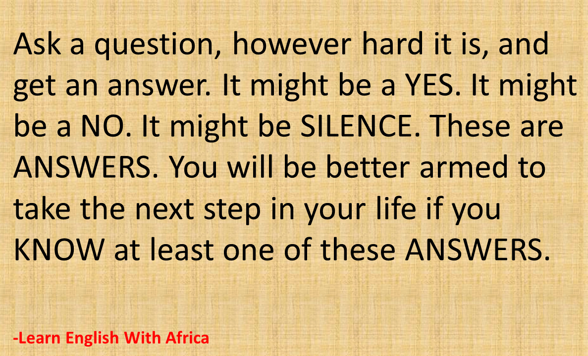 Donu0027t Waste Your Time Of Questions And Answers, Learn English With Africa