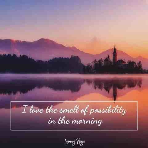 I love the smell of possibility in the morning - Morning Quotes