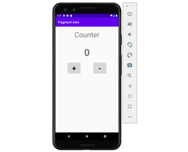 Figure 3.6: App displaying the counter fragment