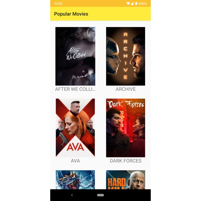 Figure 13.5: The app with the movie titles in uppercase