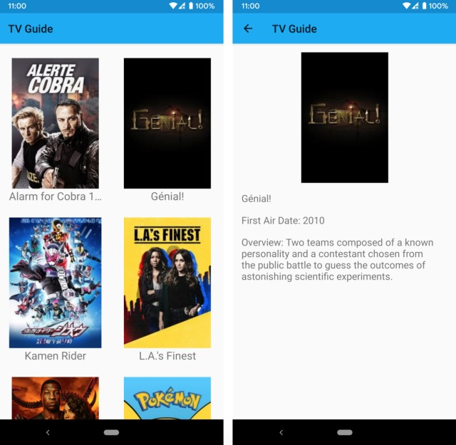 Figure 13.11: The main screen and details screen of the TV Guide app
