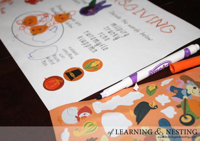 FREE Thanksgiving Placemat Printable