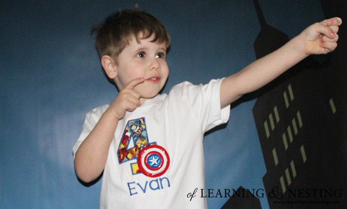 A Superhero 4th Birthday - Shirt by It's Sew Laura, Backdrop by Peek Prints