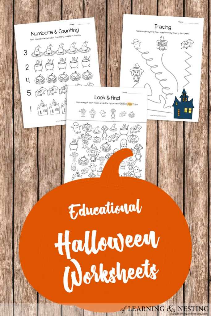 Educational Halloween Worksheets - Great for Preschool and Kindergarten! of Learning and Nesting
