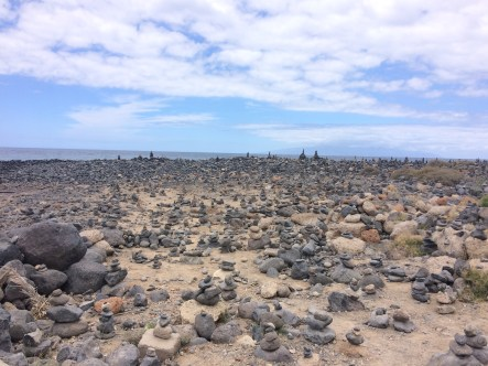 Strange beach with towers of stones
