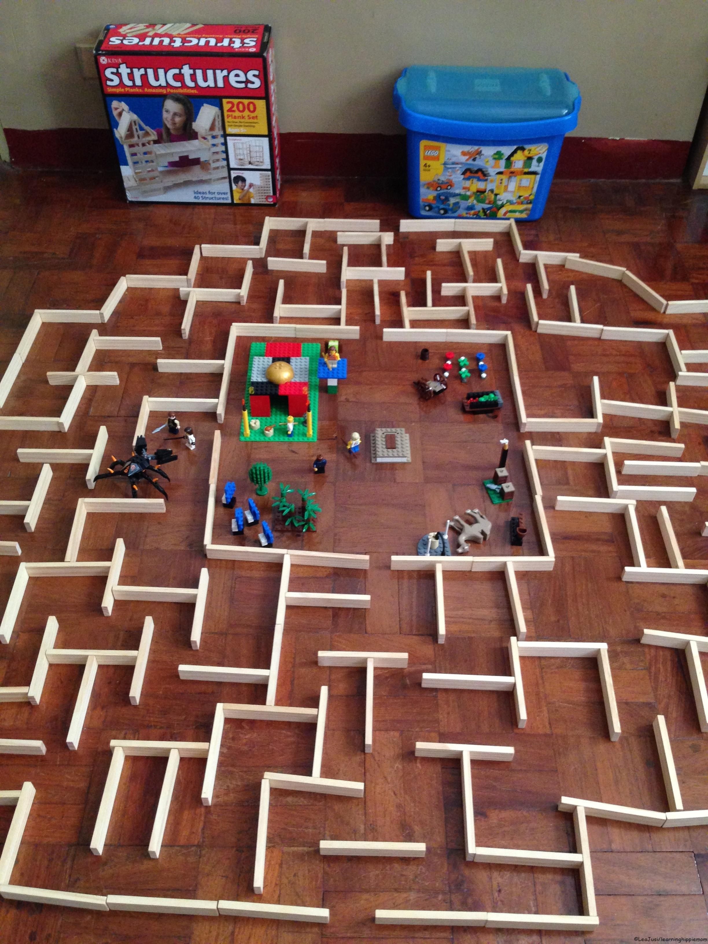 The maze runner with keva planks and lego bricks for Plank blocks