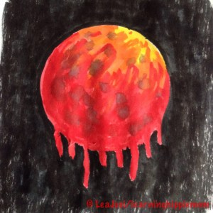 Blood Moon with Brush Pens