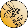 Sketch of two bees on a yellow gradient background