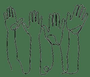 Sketch of raised hands.