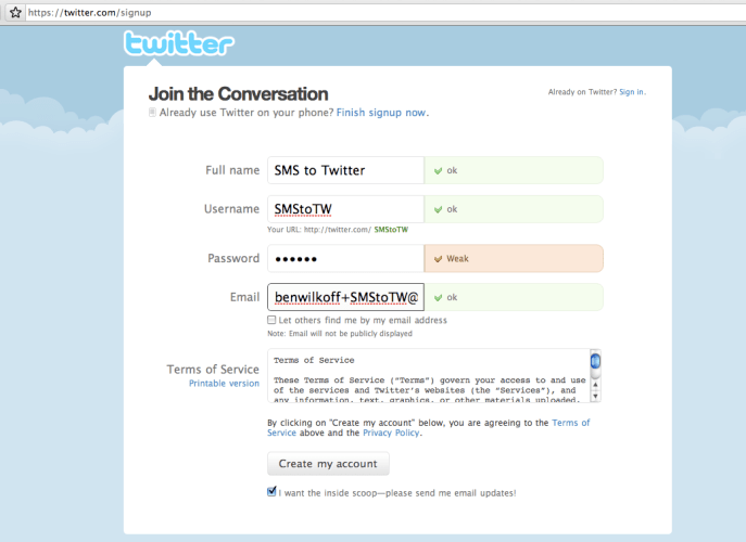 Create your own real-time SMS to Twitter service!