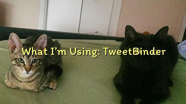 What I'm Using: TweetBinder