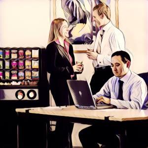 Personas tomando cafe en la oficina y charlando