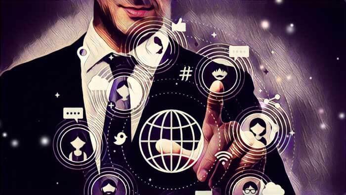 Hombre de negocios seleccionando red social