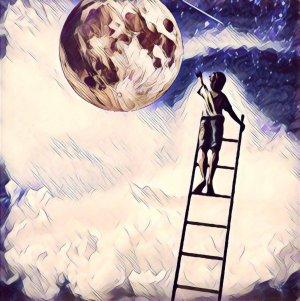 Alcanzar objetivos, niño subido en escalera para tocar la luna