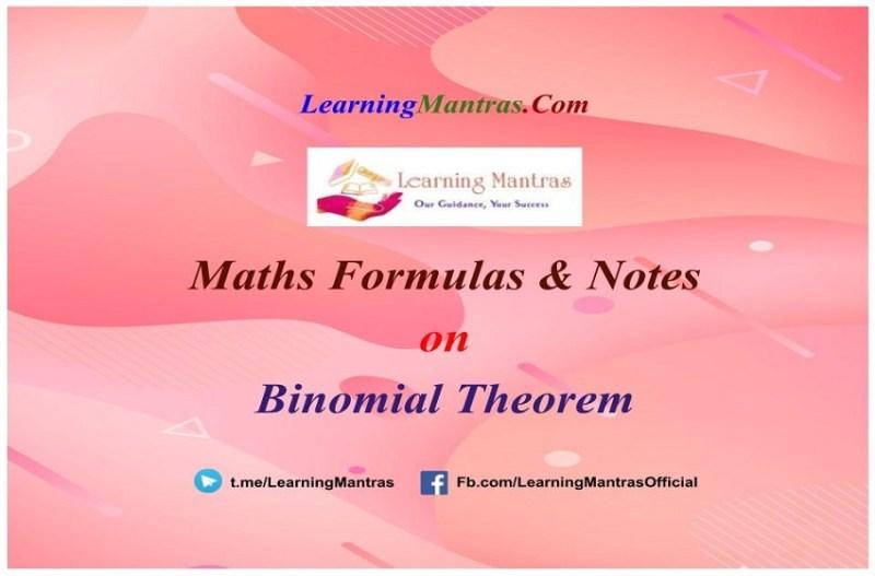 Binomial Theorem Notes PDF