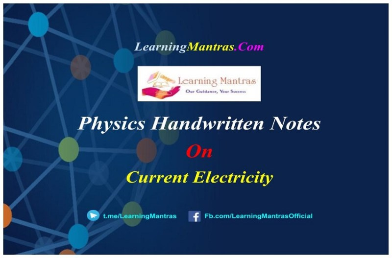 Current Electricity Handwritten Notes PDF