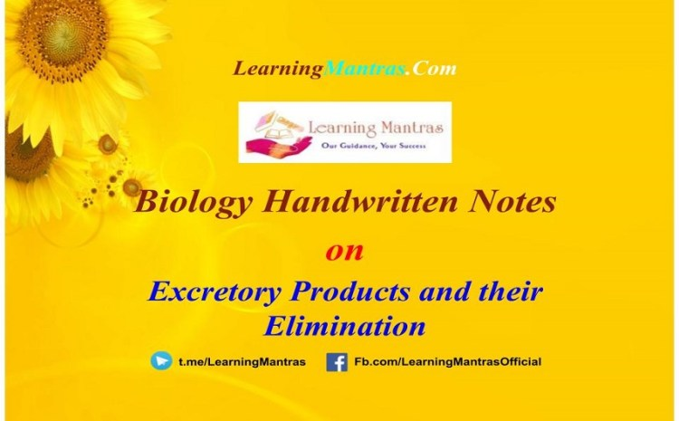 Excretory Products and their Elimination Notes PDF for Class 11, NEET, AIIMS and Medical Exams