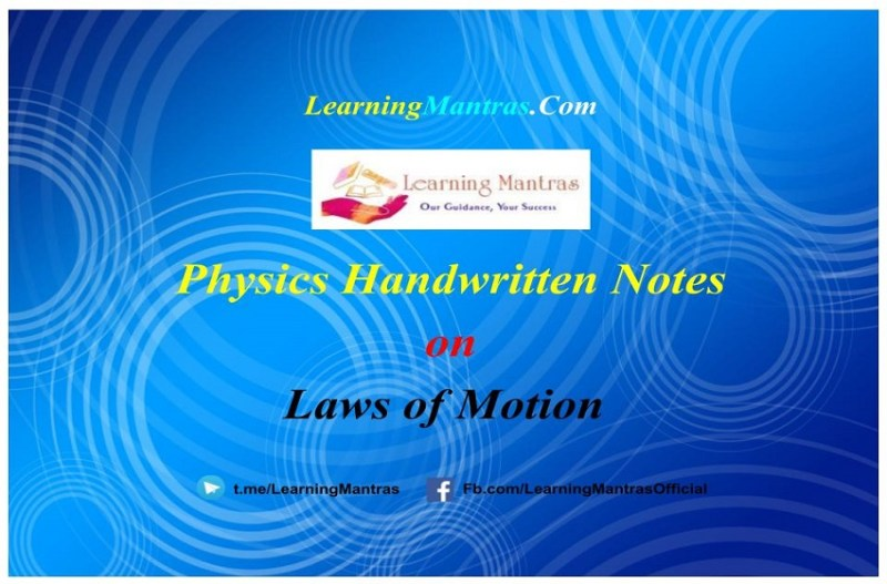 Laws of Motion Handwritten Notes PDF