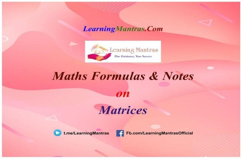 Matrices Notes PDF