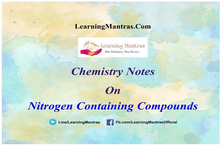 Nitrogen Containing Compounds Notes PDF