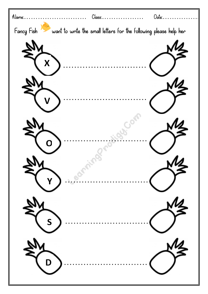 Write The Lowercase For The Following Letters English Worksheet For  Nursery Kids LearningProdigy English, English Alphabets-Missing Letters,  English Phonics, English-K, English-N |