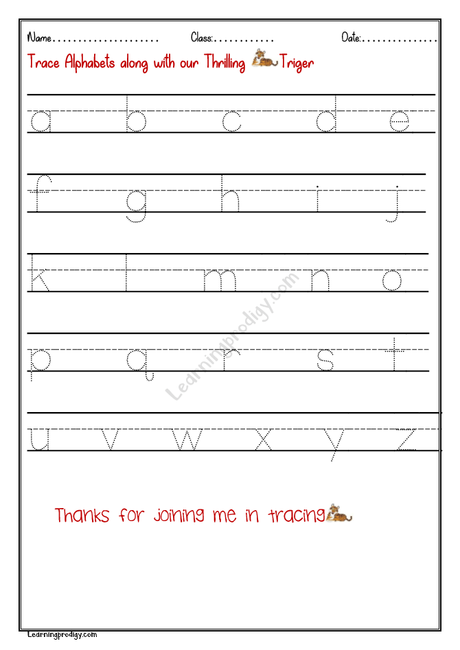 Free Printable English Alphabets Tracing Worksheet-Small Letters  LearningProdigy English, English Alphabets Tracing, English-K, English-N |