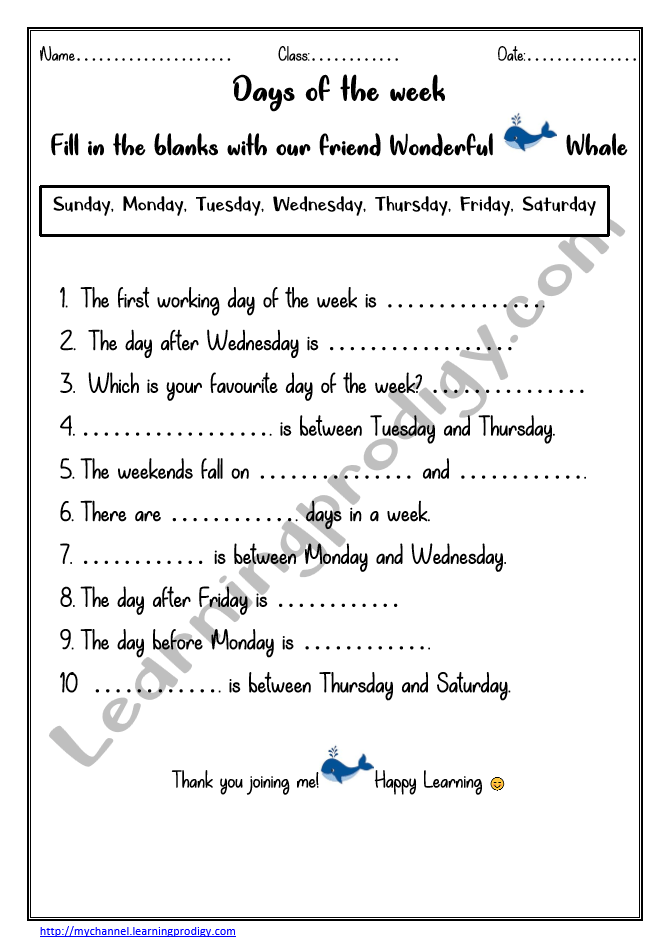Days Of The Week Worksheet |Kindergarten Worksheet LearningProdigy  Logical Reasoning, LR Weeks Worksheet |