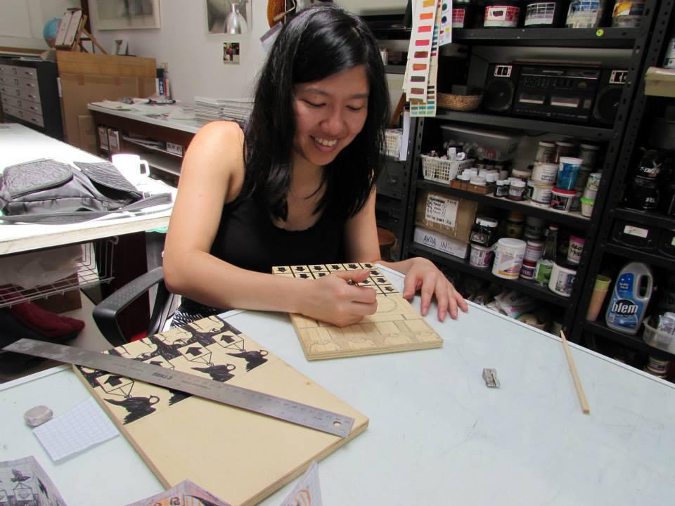 Jenie Gao doing her printmaking thing