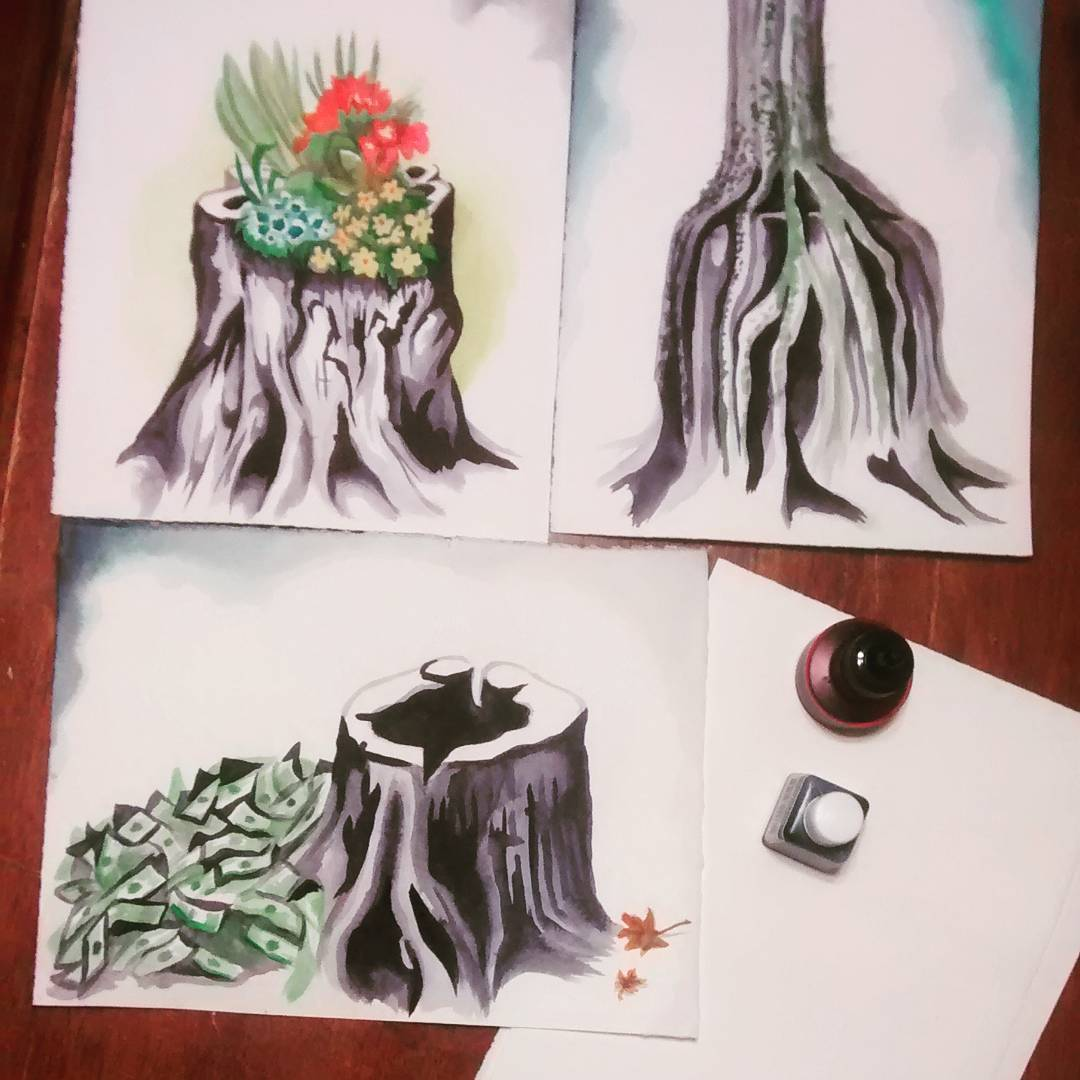 Ink drawings of Trees by Jenie Gao