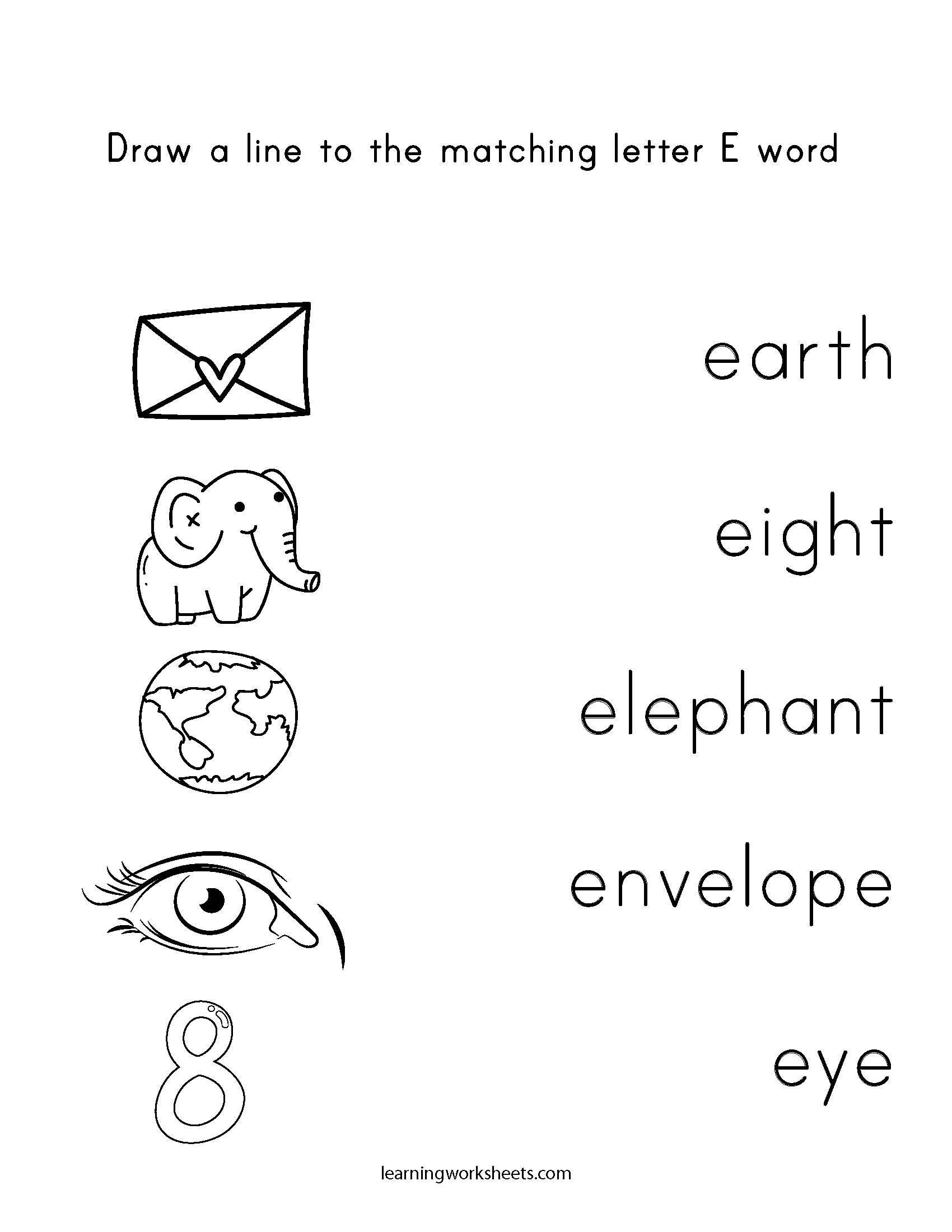 Draw A Line To The Matching Letter E Word