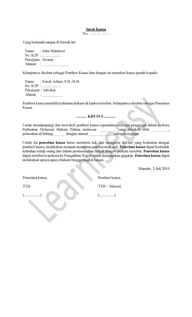 contoh surat kuasa khusus pidana