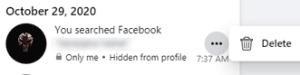 delete individual Facebook Search history