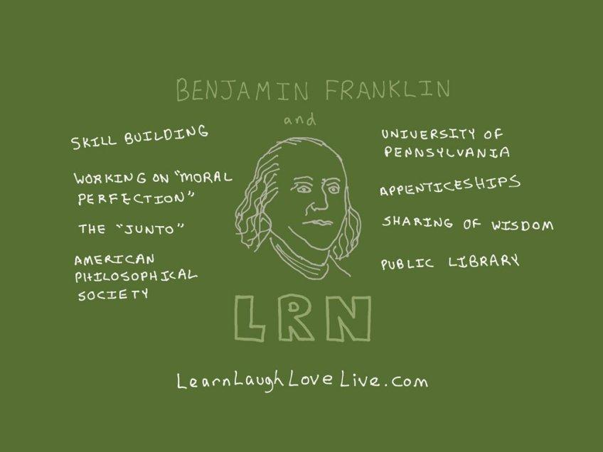 Benjamin Franklin LRN LAF LUV LIV LYF Learn Laugh Love Live Life