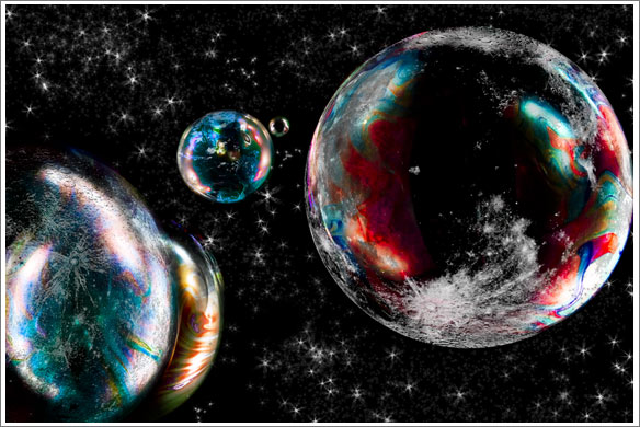 starry sky with planets