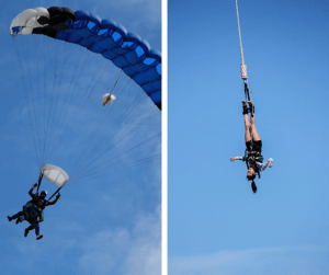 skydiver bungee jumper insulation thermal mass