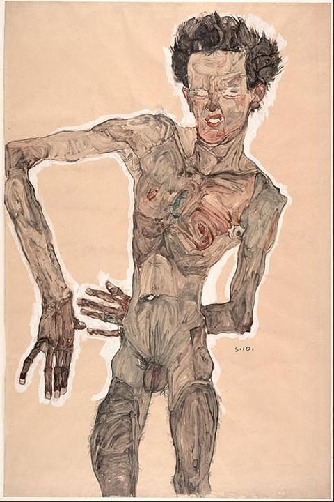 Self-Portrait Grimacing (1910)