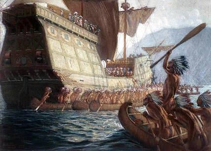 Painting of Arrival of Champlain on Quebec City