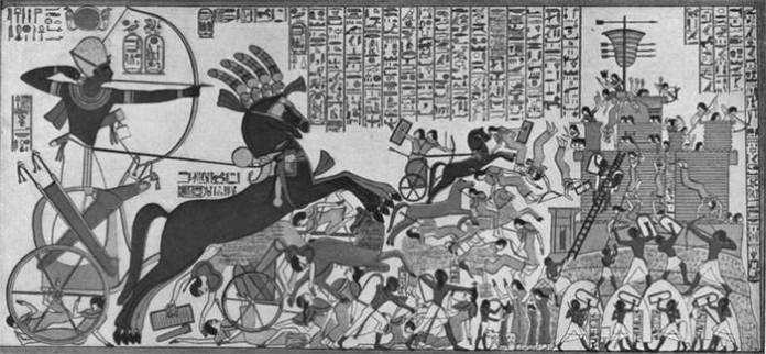 Ramses II storming the Hittite fortress of Dapur