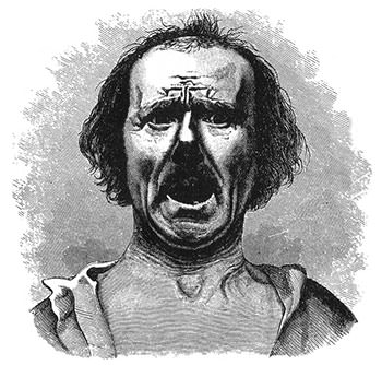 Illustration depicting Horror and Agony from Darwin's The Expression of the Emotions in Man and Animals