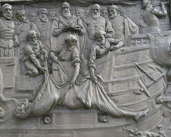 Burial at sea of Sir Francis Drake