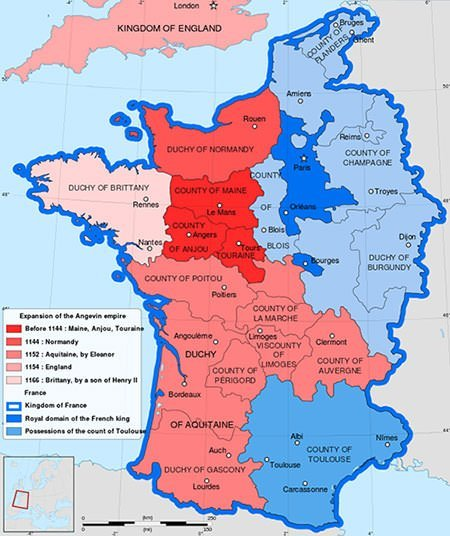 Map of France in 1154