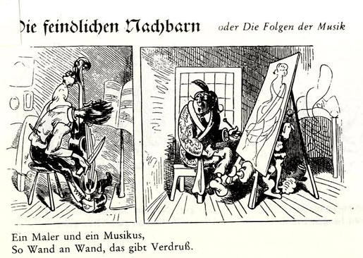 """""""Die feindlichen Nachbarn"""" (animose neighbors) by Wilhelm Busch via fulltable.com"""