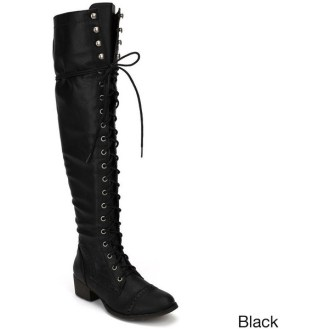 Breckelle's Women's 'Alabama-12' Elastic Over-the-knee Combat Boots