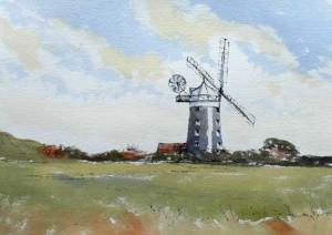 pen and wash painting of Burnham Overy windmill