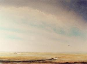 Large watercolour painting of Stiffkey marshes