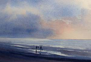 Watercolour painting of walkers on the beach at Thornham