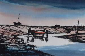 watercolour and ink painting of morston creek