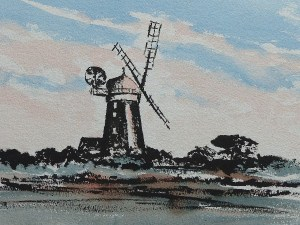 ink and watercolour painting of a windmill